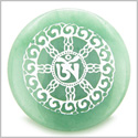 Om Mantra of Mantras Amulet Green Aventurine Magic Gemstone Circle Spiritual Powers Keepsake Individual Totem
