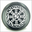 Om Mantra of Mantras Amulet Black Onyx Magic Gemstone Circle Spiritual Powers Keepsake Individual Totem