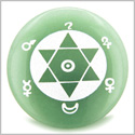 King Solomon Seal of Success Amulet Green Aventurine Gemstone Circle Spiritual Powers Keepsake Individual Totem