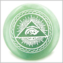 All Seeing Third Eye Amulet Green Aventurine Gemstone Circle Spiritual Powers Keepsake Individual Totem