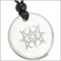 Amulet Celestial Eye Supernatural Minrozian Empire Protection Powers Genuine Crystal Quartz Medallion Circle Pendant Necklace