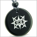 Amulet Celestial Eye Supernatural Minrozian Empire Protection Powers Genuine Black Onyx Medallion Circle Pendant Necklace