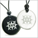 Amulets Love Couple or Best Friends Celestial Eye Supernatural Minrozian Empire Magic Powers Quartz Black Onyx Pendant Necklaces