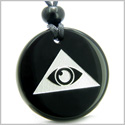 Amulet Mystical All Seeing Eye of God Triple Powers Pyramid Energies Genuine Black Onyx Medallion Circle Pendant Necklace