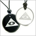 Amulets Love Couple or Best Friends Mystical All Seeing Eye of God Triple Powers Pyramid Energies Quartz and Black Onyx Pendants
