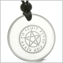 Amulet Magical Pentacle Runic Star Powerful Defense Protection Energies Genuine Crystal Quartz Medallion Circle Pendant Necklace