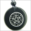 Amulet Magical Pentacle Runic Star Powerful Defense Protection Energies Genuine Black Onyx Medallion Circle Pendant Necklace