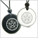 Amulets Love Couple or Best Friends Magical Pentacle Runic Star Powerful Defense Energy Quartz and Black Onyx Pendants Necklaces