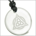 Amulet Celtic Triquetra Magic Triangular Circle Triple Protection Power Genuine Crystal Quartz Medallion Circle Pendant Necklace