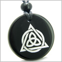 Amulet Celtic Triquetra Magic Triangular Circle Triple Protection Power Genuine Black Onyx Medallion Circle Pendant Necklace