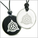 Amulets Love Couple or Best Friends Celtic Triquetra Magic Triangular Circle Triple Powers Quartz Black Onyx Pendants Necklaces