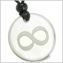 Amulet Eternity and Infinity Possibilities Magic Protection Powers Genuine Crystal Quartz Medallion Circle Pendant Necklace