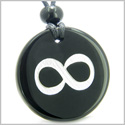 Amulet Eternity and Infinity Possibilities Magic Protection Powers Genuine Black Onyx Medallion Circle Pendant Necklace