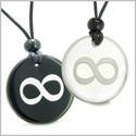 Amulet Eternity and Infinity Possibilities Love Couple or Best Friends Magic Powers Quartz and Black Onyx Pendants Necklaces