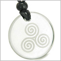 Amulet Triple Spiral of Life Magic Celtic Goddess Protection Powers Genuine Crystal Quartz Medallion Circle Pendant Necklace