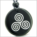 Amulet Triple Spiral of Life Magic Celtic Goddess Protection Powers Genuine Black Onyx Medallion Circle Pendant Necklace