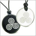Amulets Love Couple or Best Friends Triple Spiral of Life Magic Celtic Goddess Powers Quartz and Black Onyx Pendants Necklaces