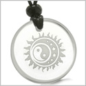 Amulet Sun Moon Stars Triple Magic and Balance Yin Yang Positive Powers Genuine Crystal Quartz Medallion Circle Pendant Necklace