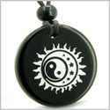 Amulet Sun Moon Stars Triple Magic and Balance Yin Yang Positive Powers Genuine Black Onyx Medallion Circle Pendant Necklace