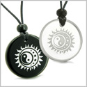 Amulets Love Couple or Best Friends Sun Moon Stars Triple Magic Yin Yang Positive Powers Quartz Black Onyx Pendants Necklaces