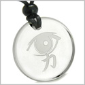 Amulet All Seeing Mystic Eye Kanji Strength and Power Magic Energies Genuine Crystal Quartz Medallion Circle Pendant Necklace