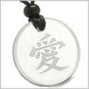 Amulet Universal and Mutual Love Kanji Magic Protection Powers Genuine Crystal Quartz Medallion Circle Pendant Necklace