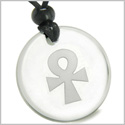 Amulet Ankh Egyptian Power of Life Spirit and Protection Powers Genuine Crystal Quartz Medallion Circle Pendant Necklace