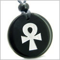 Amulet Ankh Egyptian Power of Life Spirit and Protection Powers Genuine Black Onyx Medallion Circle Pendant Necklace