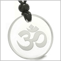 Amulet Ancient OM Tibetan Symbol Magic Powers Protection Energies Genuine Crystal Quartz Medallion Circle Pendant Necklace