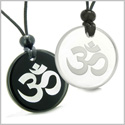 Amulets Love Couple or Best Friends Ancient OM Tibetan Symbol Magic Powers Quartz and Black Onyx Pendants Necklaces