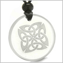 Amulet Life Protection Celtic Shield Knot Ancient Magic Powers Genuine Crystal Quartz Medallion Circle Pendant Necklace