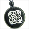 Amulet Life Protection Celtic Shield Knot Ancient Magic Powers Genuine Black Onyx Medallion Circle Pendant Necklace