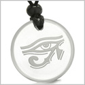 Amulet All Seeing Eye of Horus Egyptian Magic Protection Powers Genuine Crystal Quartz Medallion Circle Pendant Necklace