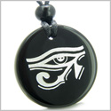 Amulet All Seeing Eye of Horus Egyptian Magic Protection Powers Genuine Black Onyx Medallion Circle Pendant Necklace