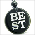 Amulet Powers to Stay the BEST in the World Magic Powers Genuine Black Onyx Medallion Circle Pendant Necklace