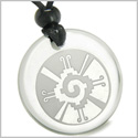 Amulet Mayan Unity of All Things Hunab Ku Protection Powers Genuine Crystal Quartz Medallion Circle Pendant Necklace