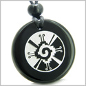 Amulet Mayan Unity of All Things Hunab Ku Protection Powers Genuine Black Onyx Medallion Circle Pendant Necklace