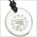 Amulet All Seeing and Feeling Eye of Horus Egyptian Protection Powers Genuine Crystal Quartz Medallion Circle Pendant Necklace