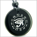 Amulet All Seeing and Feeling Eye of Horus Egyptian Protection Powers Genuine Black Onyx Medallion Circle Pendant Necklace