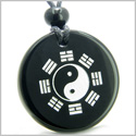 Amulet Yin Yang BA GUA Eight Trigrams Magic and Protection Powers Genuine Black Onyx Medallion Circle Pendant Necklace