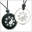 Amulets Love Couple or Best Friends Yin Yang BA GUA Eight Trigrams Magic Powers Quartz and Black Onyx Pendants Necklaces
