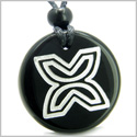 Amulet Inner Freedom and Independence Protection Powers Genuine Black Onyx Medallion Circle Pendant Necklace