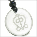 Amulet Power of Infinite and Supernatural Love Protection Energies Genuine Crystal Quartz Medallion Circle Pendant Necklace