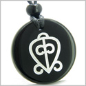 Amulet Power of Infinite and Supernatural Love Protection Energies Genuine Black Onyx Medallion Circle Pendant Necklace