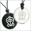 Amulets Love Couple or Best Friends Power of Infinite and Supernatural Love Magic Powers Quartz and Black Onyx Pendants Necklace