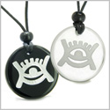 Amulets Love Couple or Best Friends Universe Energy Supernatural All Seeing Eye Magic Powers Quartz Black Onyx Pendant Necklaces