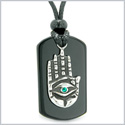 All Seeing and Feeling Buddha Eye Hamsa Hand Magic Powers Black Agate Tag Green Crystal Pendant Necklace