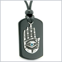All Seeing Feeling Buddha Eye Hamsa Hand Magic Powers Black Agate Tag Sky Blue Crystal Pendant Necklace