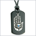 All Seeing and Feeling Buddha Eye Hamsa Hand Magic Powers Black Agate Tag Blue Crystal Pendant Necklace
