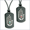 All Seeing Feeling Buddha Eye Hamsa Hand Love Couples Best Friends Agate Tag Red Green Crystals Necklaces